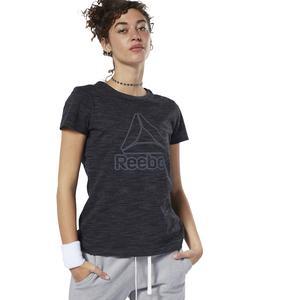 Marble Logo Kadın Siyah Antrenman Tişört EC2325