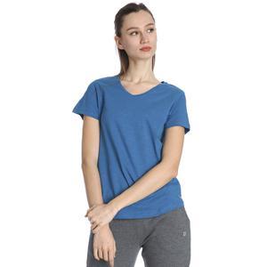 Kadın Mavi Günlük V Yaka Tişört 610003-PTR