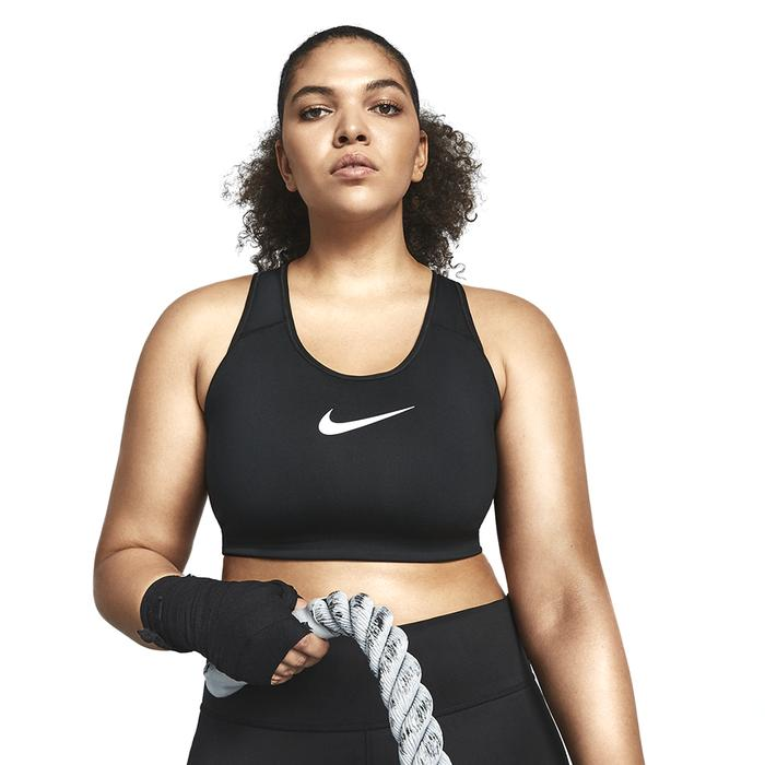 Swoosh Plus Size Bra Kadın Siyah Antrenman Sporcu Sütyeni BQ0973-010 1192686