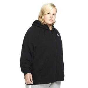 W Nsw Essntl Hoody Fz Flc Plus Kadın Siyah Günlük Stil Sweatshirt CJ0401-010