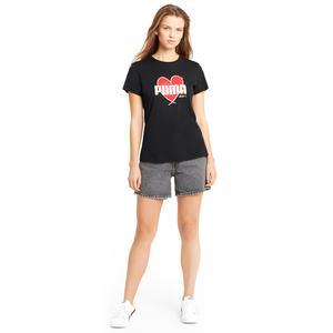 Heart Tee Kadın Siyah Günlük Stil Tişört 58789701