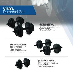 Vinyl Set 10Kg Unisex Siyah Antrenman Dambıl Set 1DYASVINYLSET-10K-N