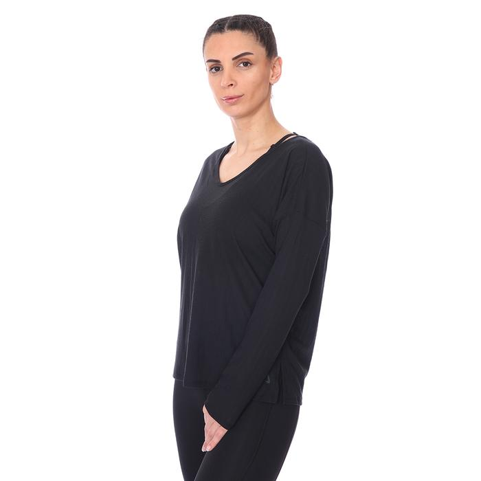 W Ny Pointelle L-S Top Kadın Siyah Antrenman Uzun Kollu Tişört CZ9186-010 1274357
