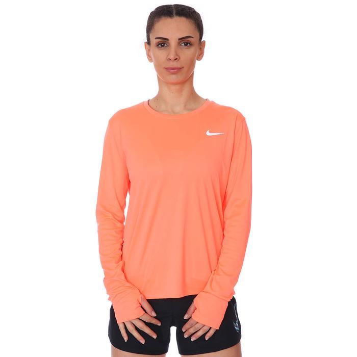 W Nk Miler Top Ls Kadın Turuncu Koşu Uzun Kollu Tişört AJ8128-854 1274227