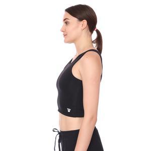 Spo-Assymetric Crop Kadın Siyah Günlük Stil Sporcu Sütyeni 712102-SYH