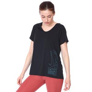 W Nk Icon Clash Miler Top Ss Kadın Siyah Koşu Tişört DC7594-010