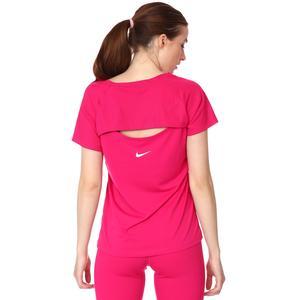 W Nk İcon Clash Miler Top Ss Kadın Pembe Koşu Tişört DC7594-615