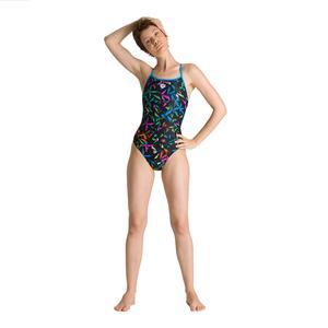 W Multicolor Palms Accellerate Back One Piece Kadın Çok Renkli Yüzücü Mayosu 002833850