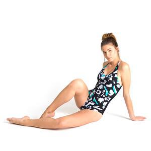 W izumi Criss Cross Back One Piece Kadın Siyah Yüzücü Mayo 002938505