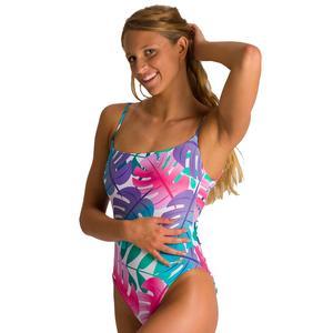 W Allover U Back One Piece Kadın Pembe Yüzücü Mayosu 003057901