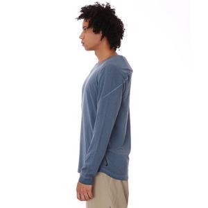 M Ny Ls Dye Erkek Mavi Günlük Stil Uzun Kollu Tişört CZ9695-437