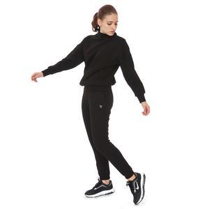 Zip Neck Cotton Kadın Siyah Günlük Stil Sweatshirt 21KKTL13D01-SYH