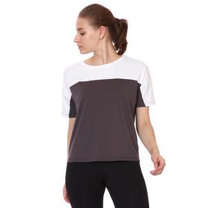 Renk Bloklu Kadın Gri Günlük Stil Tişört 21KKTL18D01-ANT