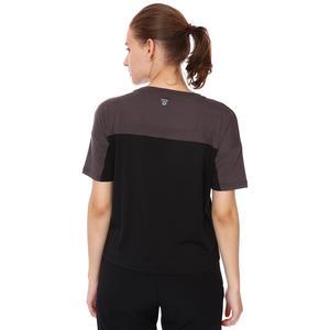 Renk Bloklu Kadın Siyah Günlük Stil Tişört 21KKTL18D01-SYH